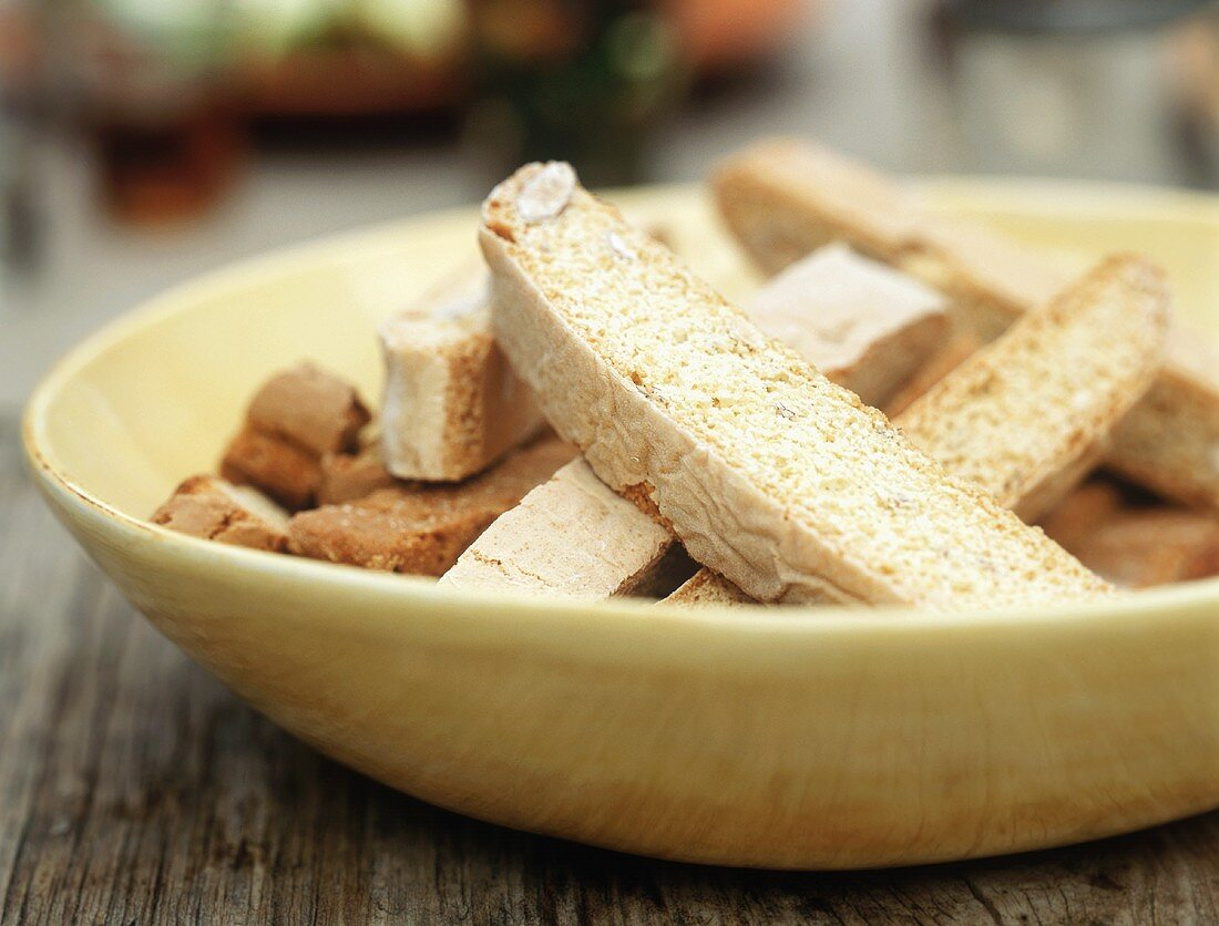 Biscotti in a Yellow Bowl