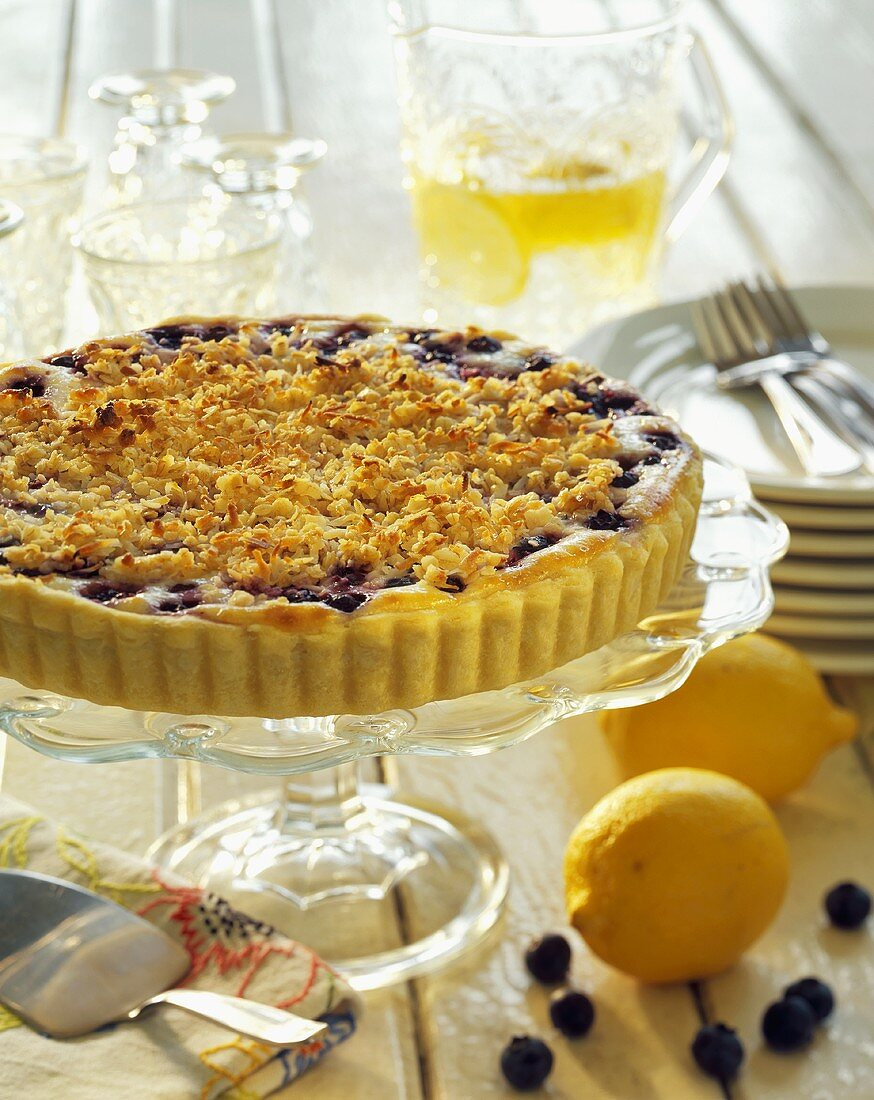 Blueberry Tart with Coconut Crumb Topping
