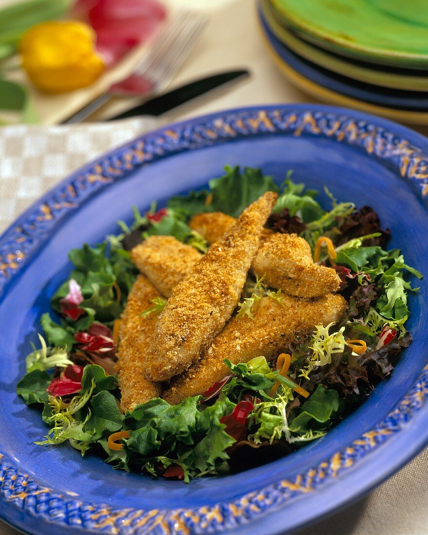Chicken Fingers on Bed of Mixed Greens