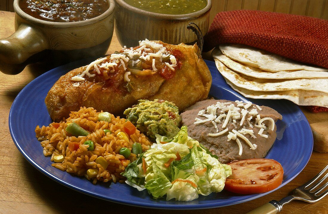 Chile Relleno with Rice and Refried Beans