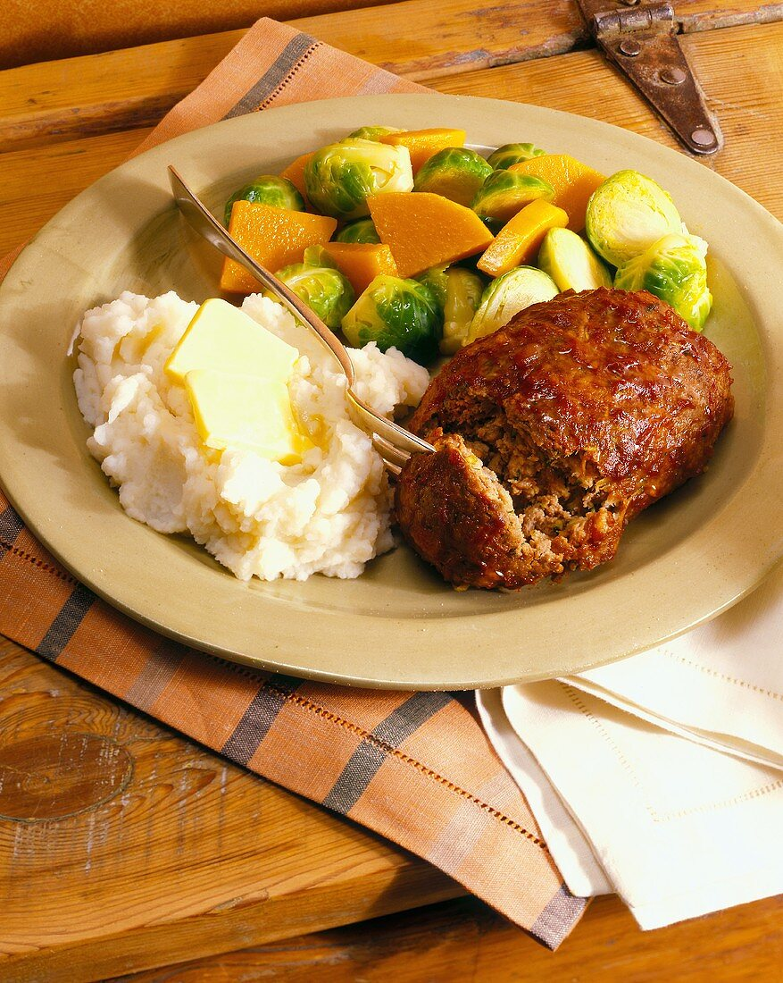 Meatloaf with Mashed Potatoes, Carrots and Brussels Sprouts