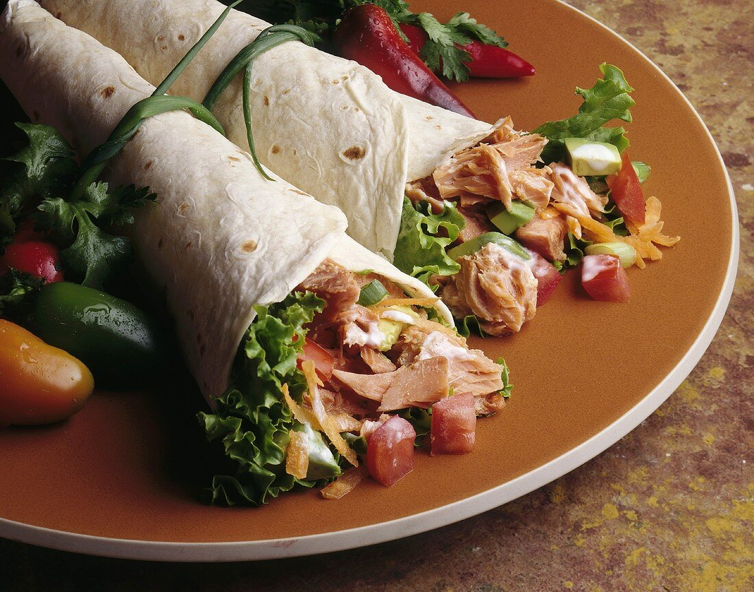 Salmon with Vegetables in a Flour Tortilla