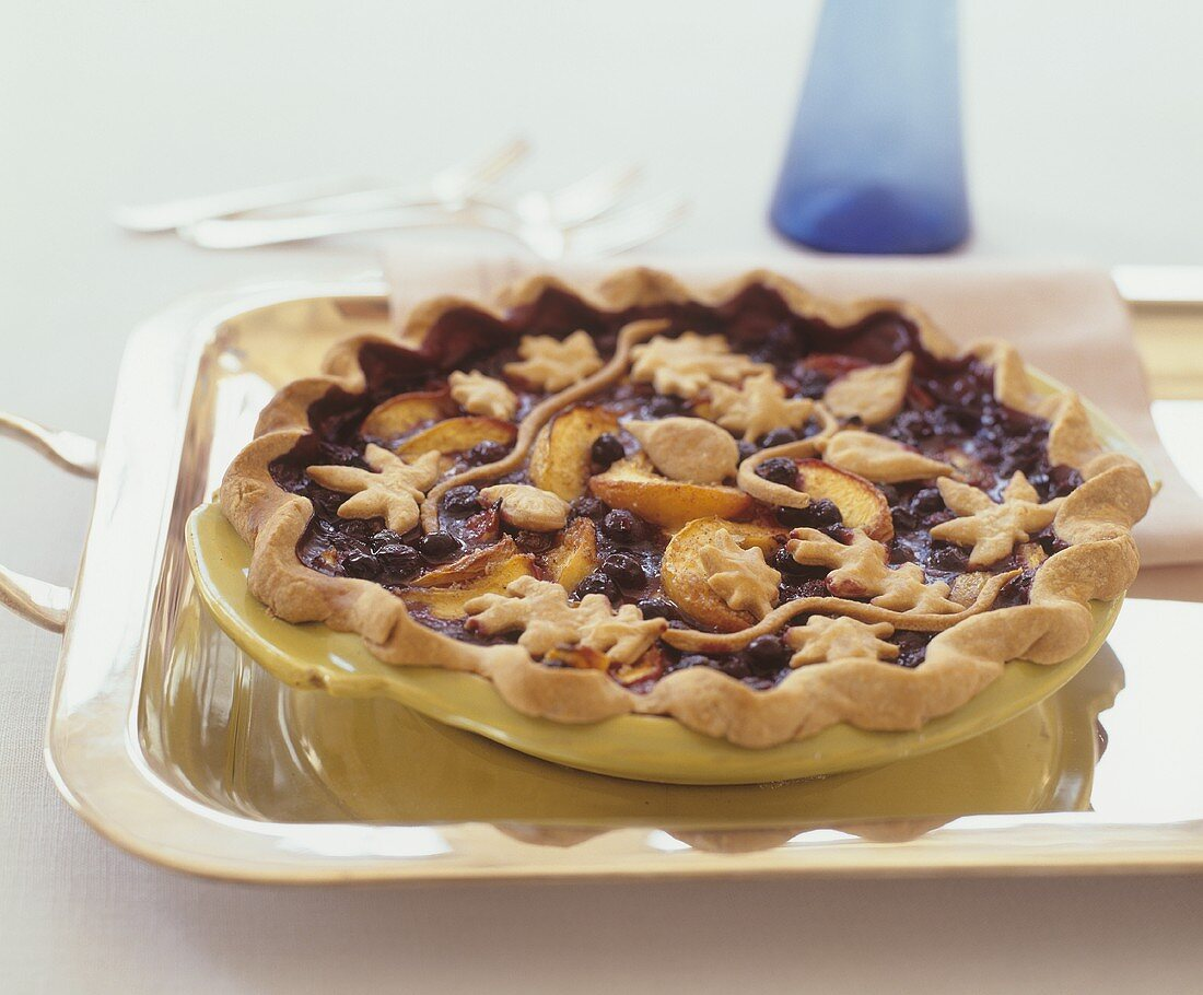 Peach and blueberry tart