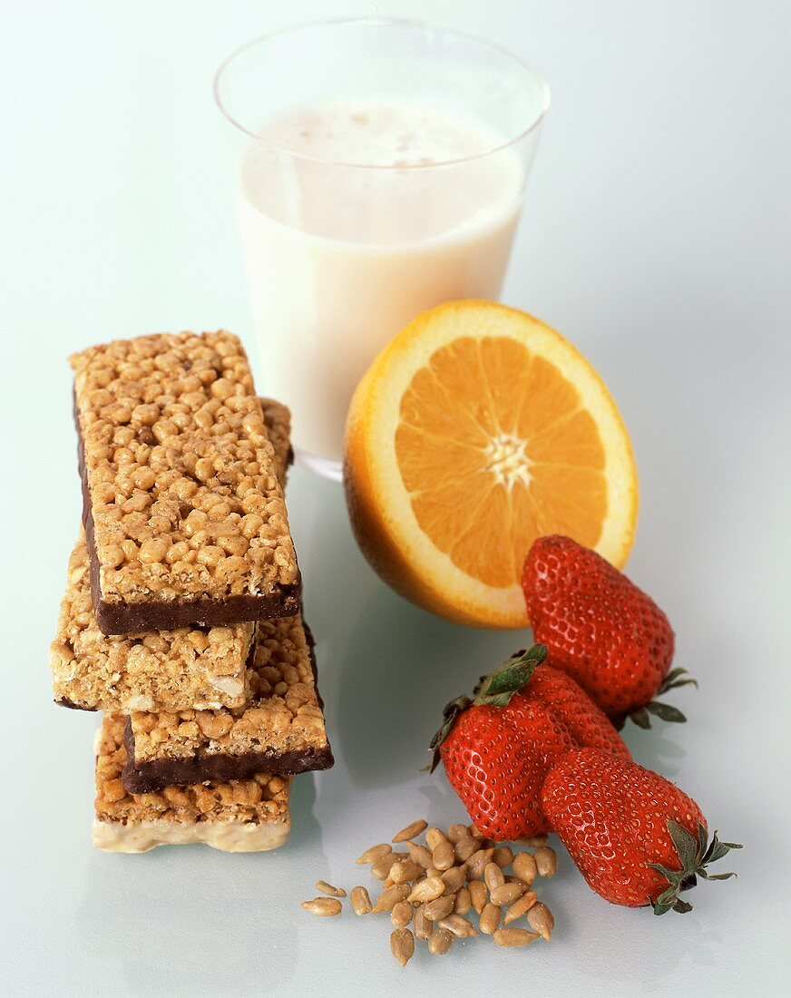 Snack Bars with Fruit, Milk and Sunflower Seeds