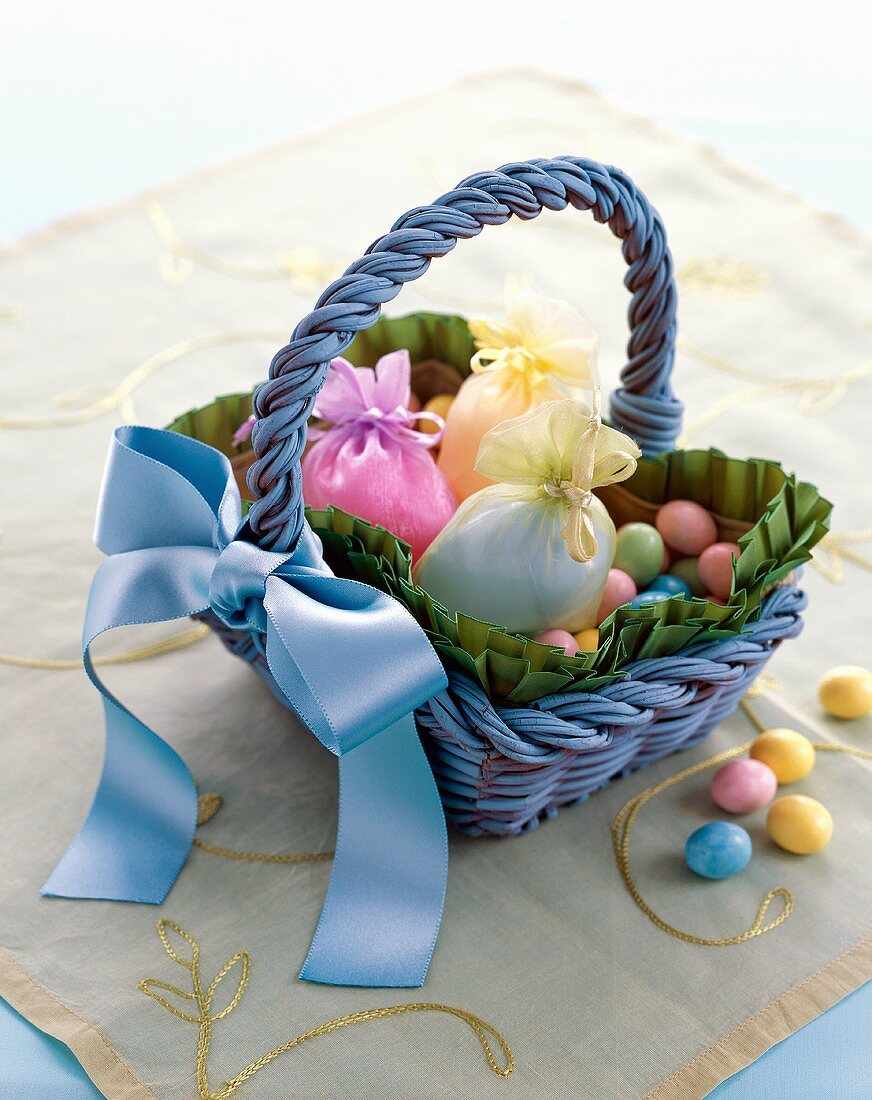 Easter Basket with Colorful Candies and Gift Bags