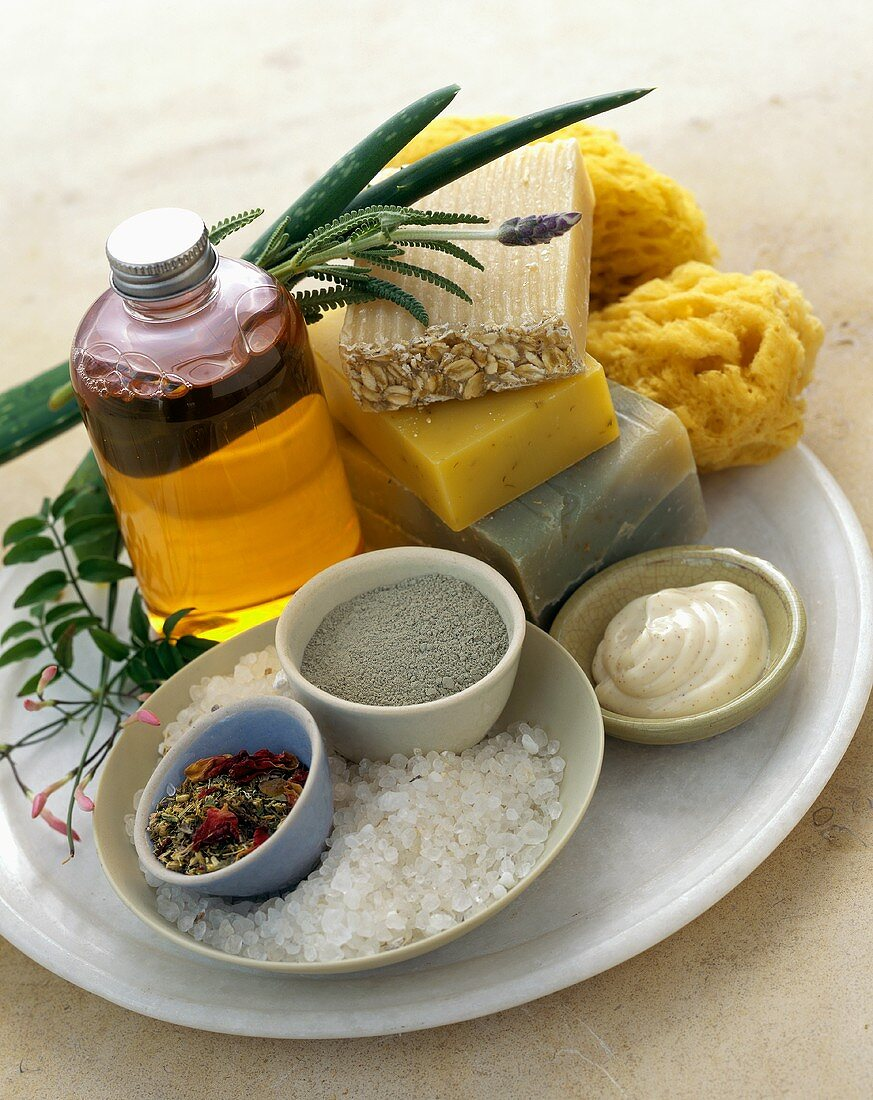 Natural beauty products: soap, bath oil, salt and lotion