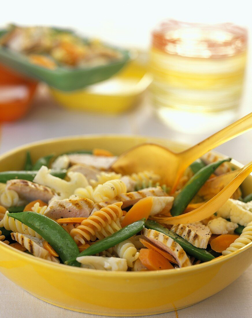 Pasta Salad with Grilled Chicken, Snap Peas and Carrots
