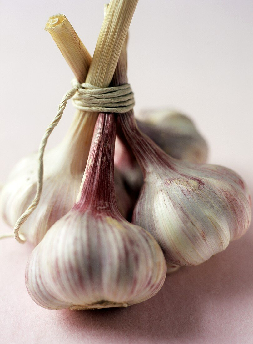 Four garlic bulbs tied together with string