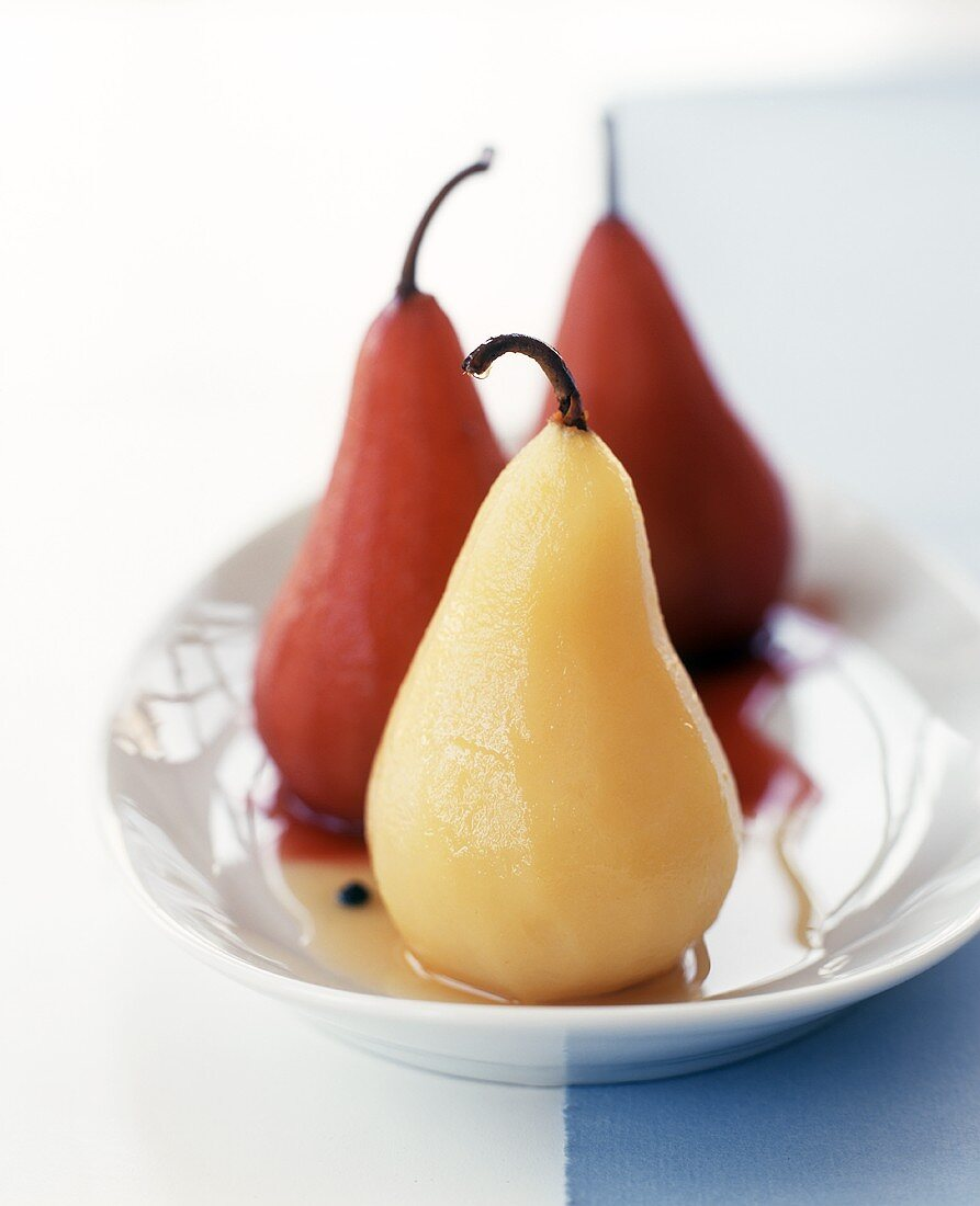 Poached Pears in Red and White Wine