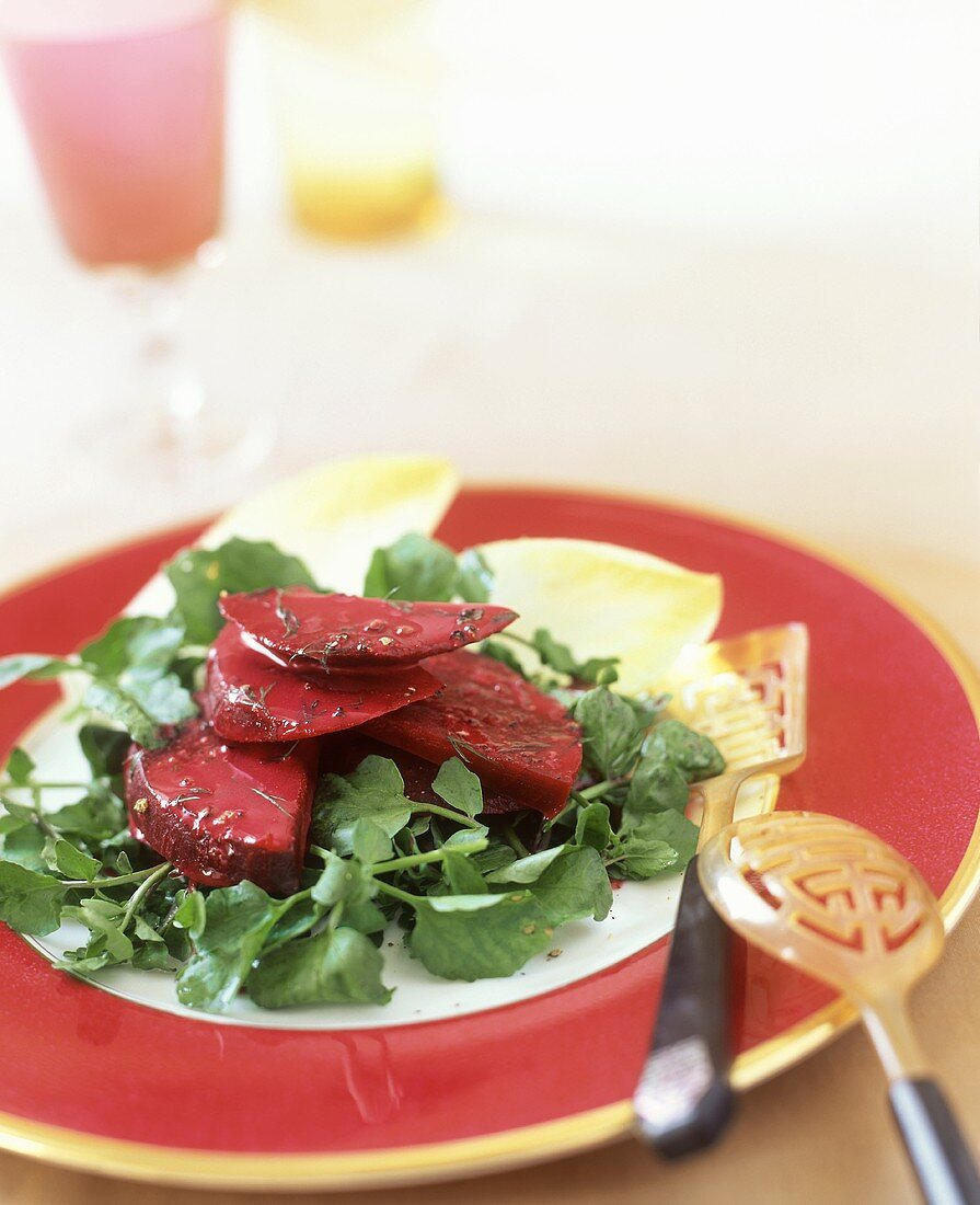 Beetroot salad with watercress