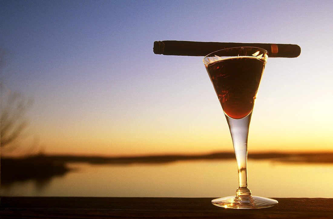 Port in a Glass with a Cigar