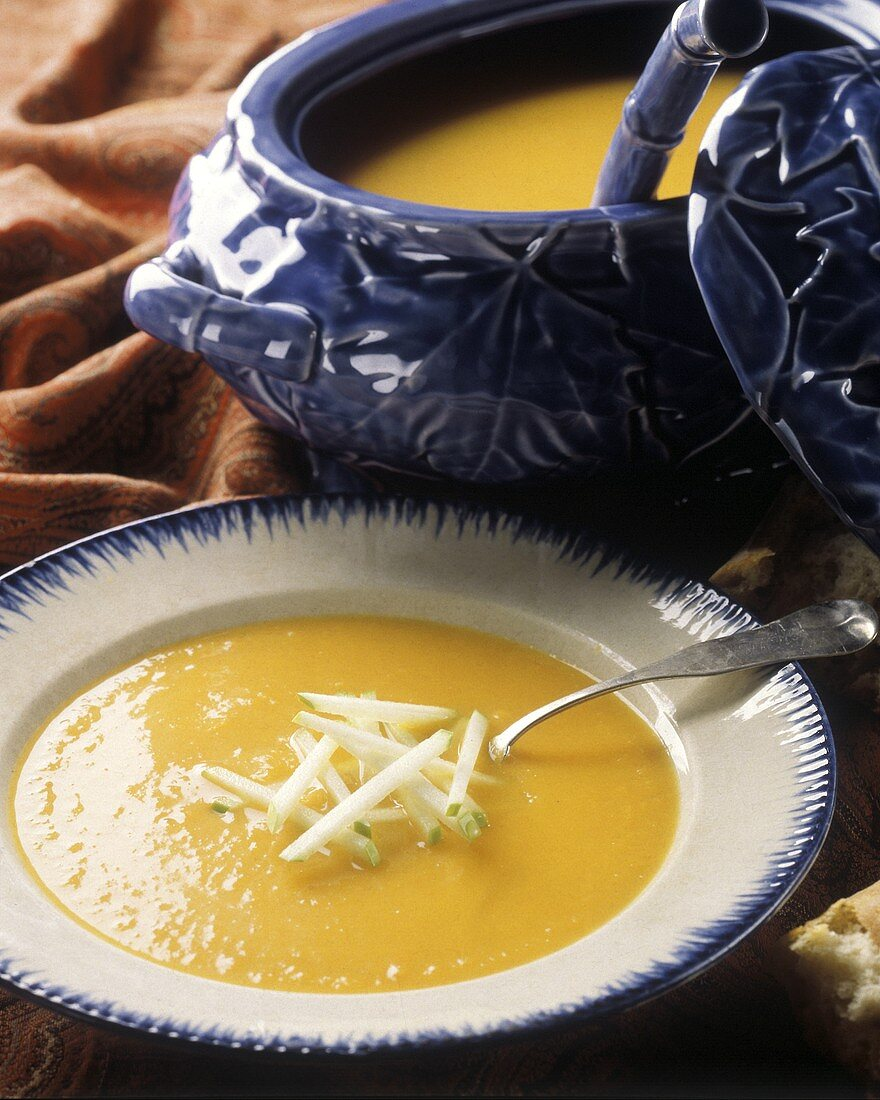 Squash Soup in a Bowl and in a Soup Tureen