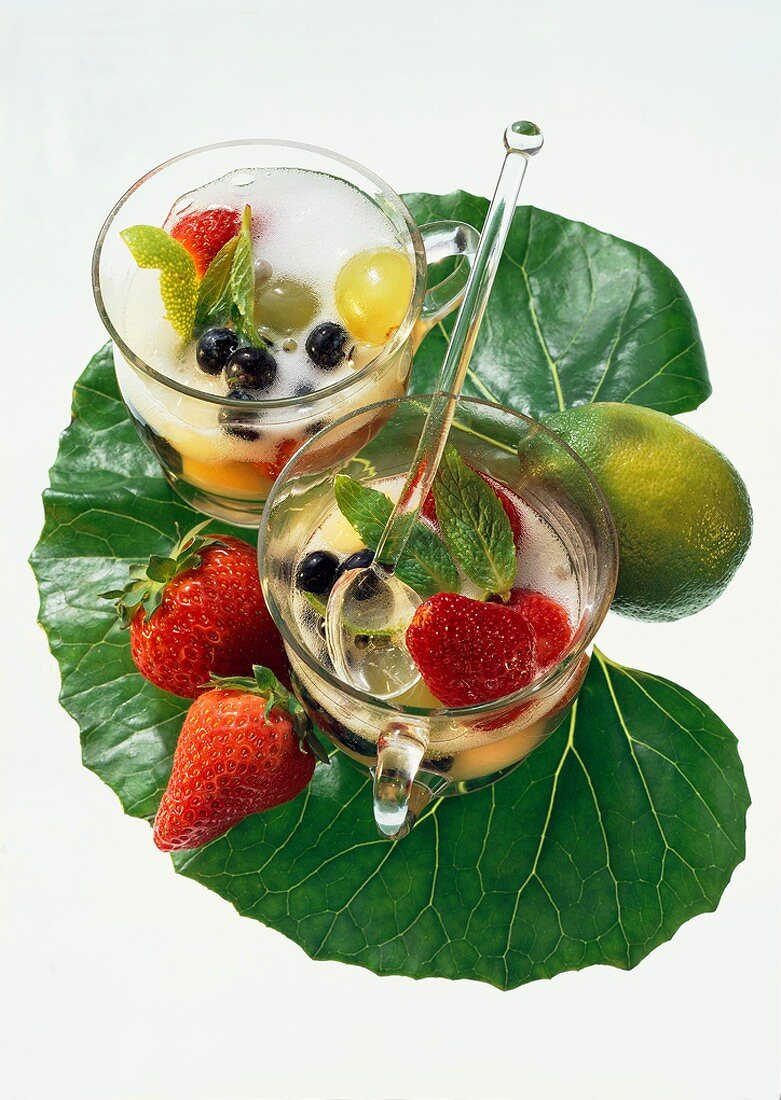 Fresh Fruit Punch with Sparkling Wine; Tropical Leaf