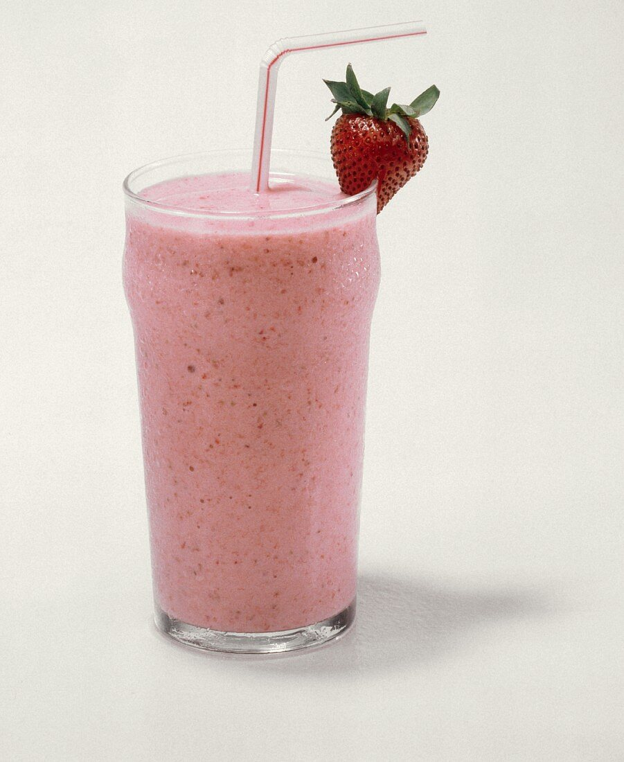 Strawberry Smoothie with a Straw
