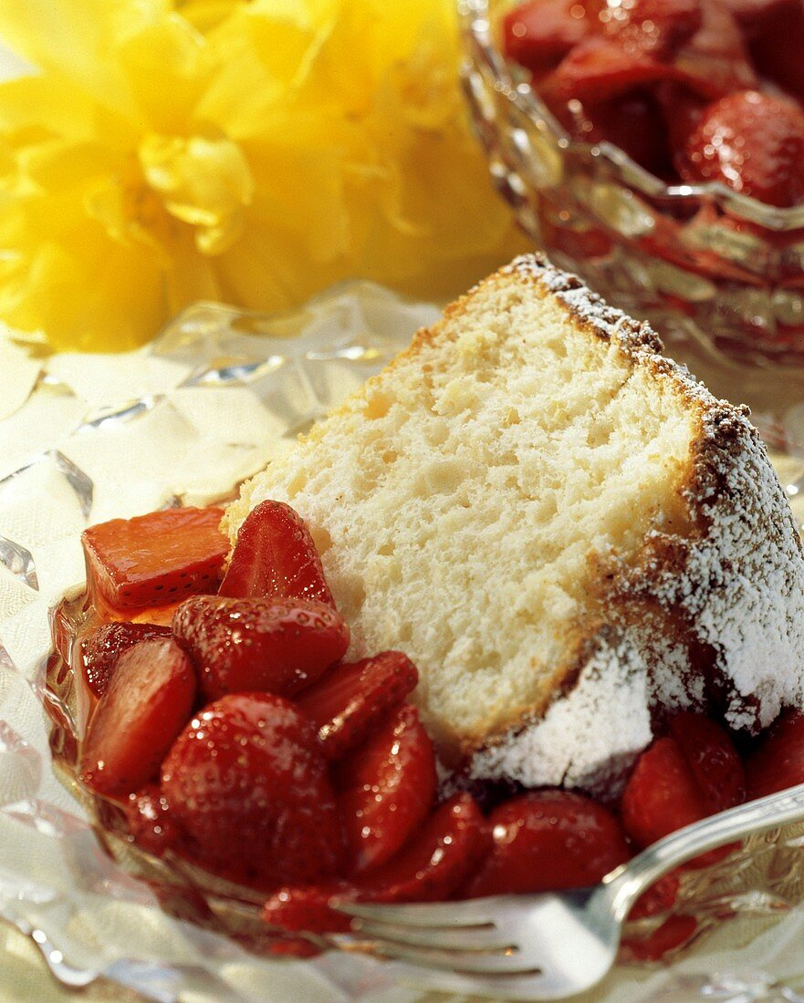 A Piece of Angel Food Cake; Fresh Strawberries