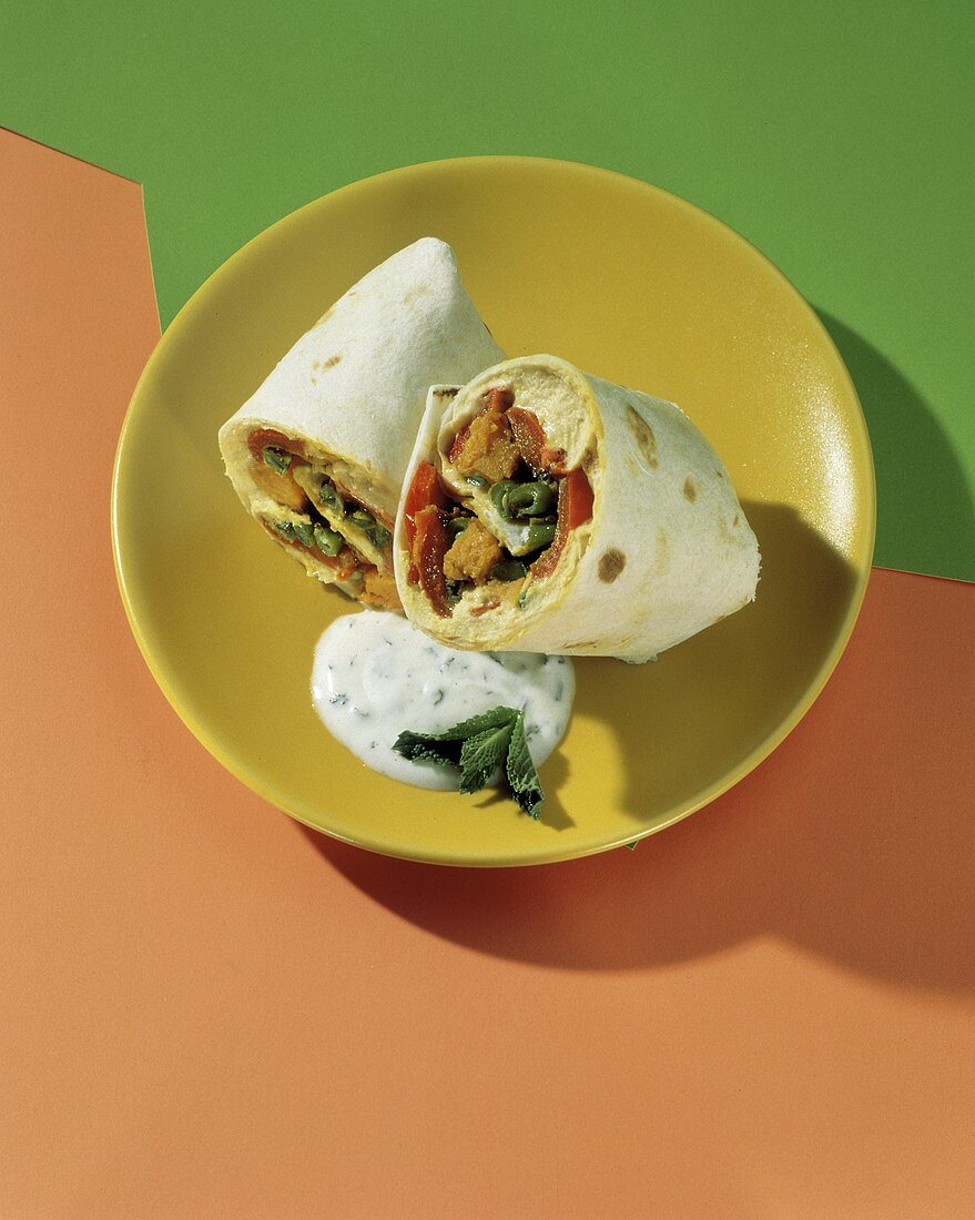 Healthy Hummus and Vegetable Roll Up; Dressing