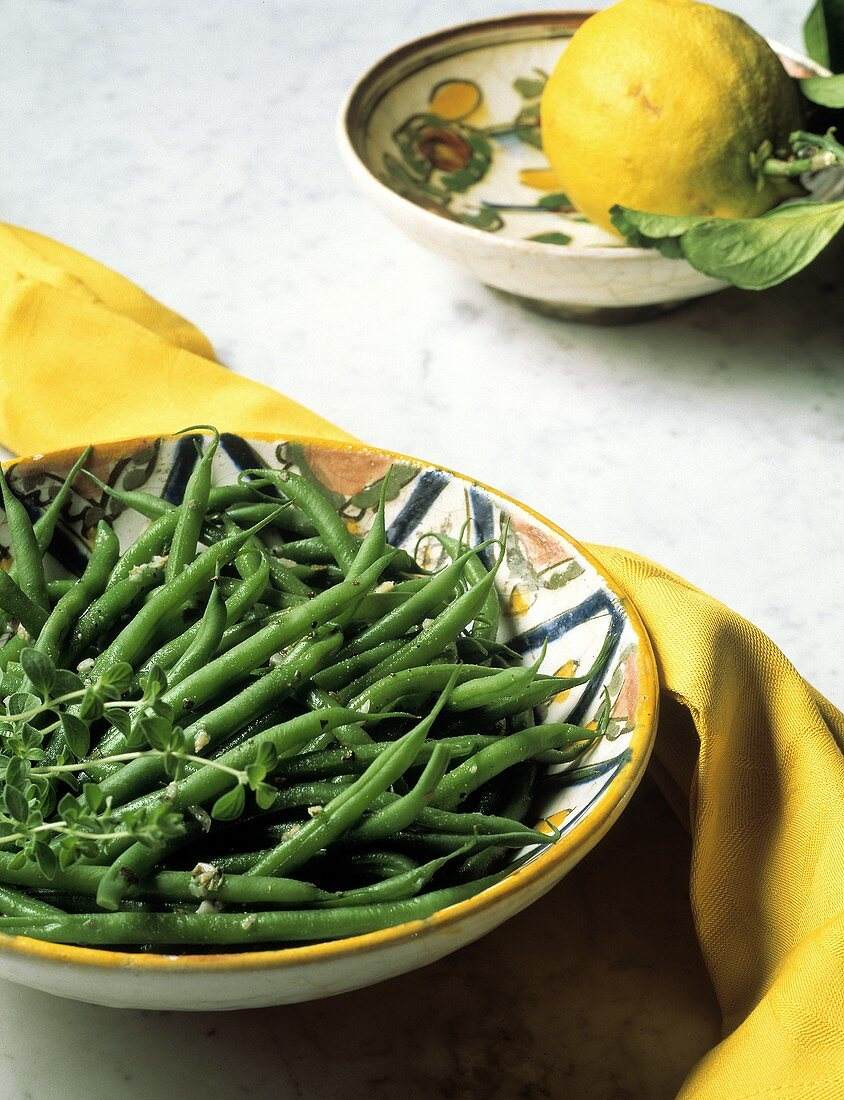 Bowl of Green Beans with Fresh Thyme