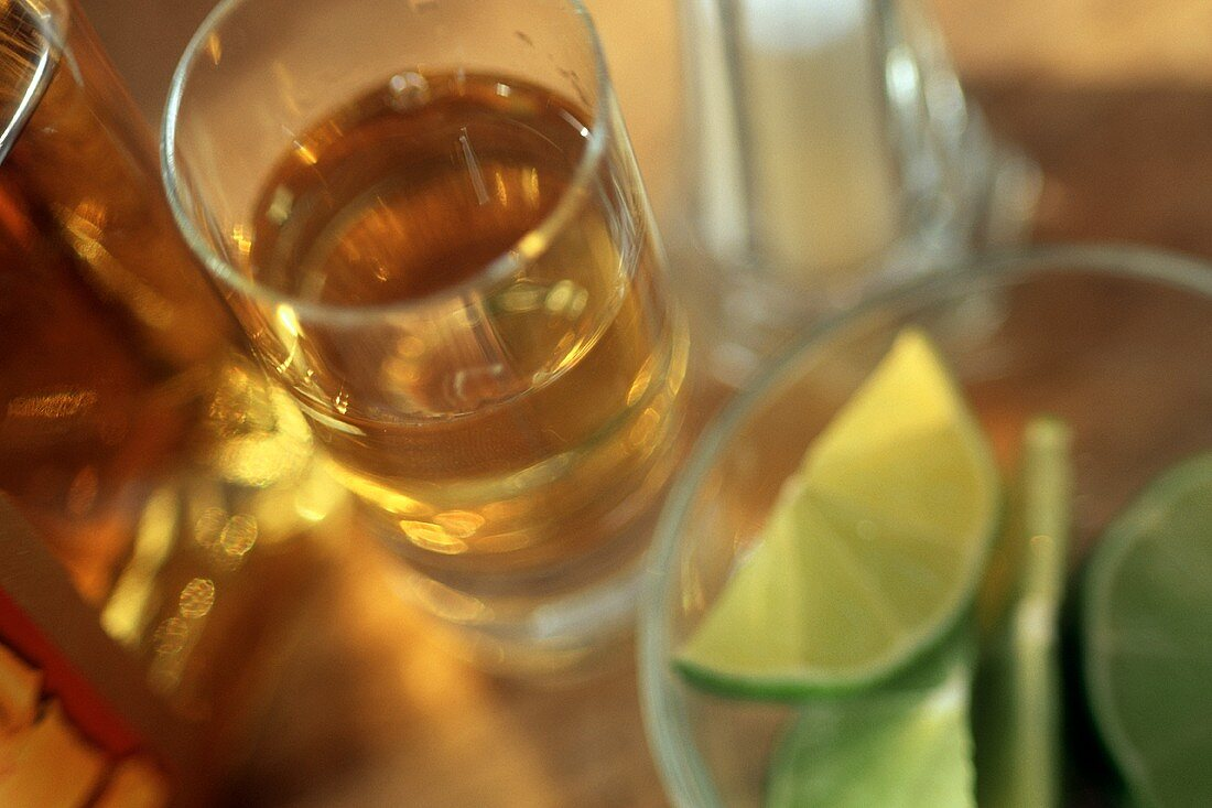 Tequila in a Shot Glass with a Bowl of Lime Slices