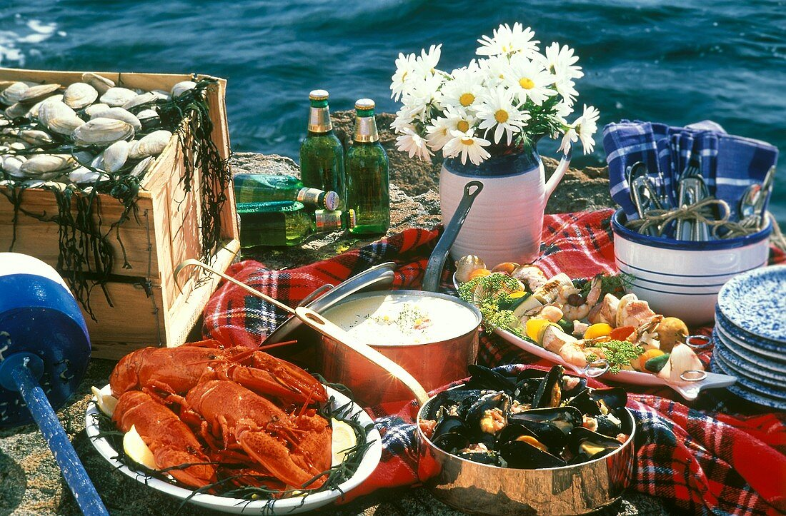 Assorted Seafood Dishes for a Picnic by the Sea