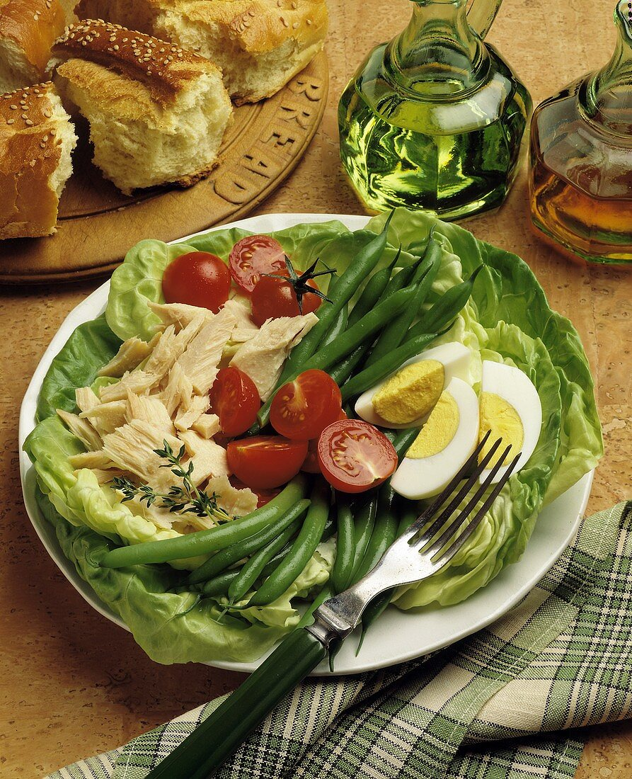 Tuna Salad with Tomatoes and Hard Boiled Eggs