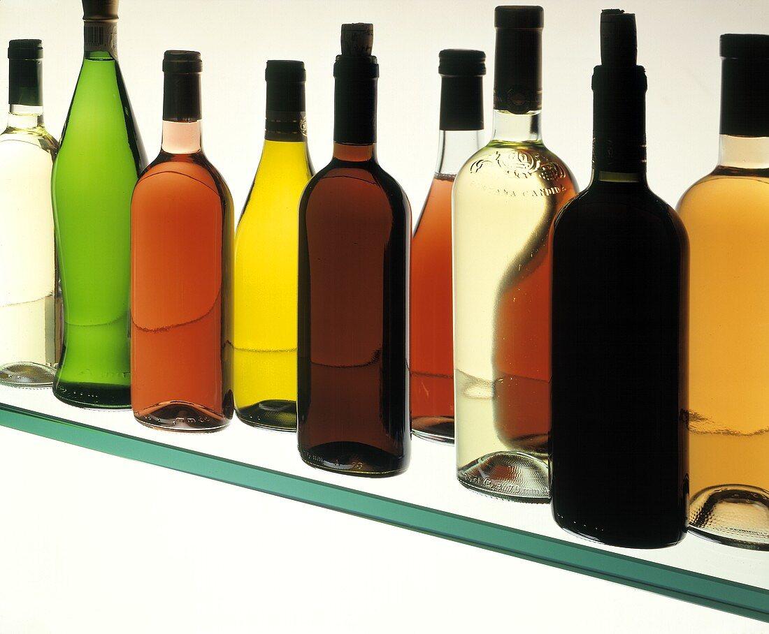 Assorted Wine Bottles on a Glass Shelf