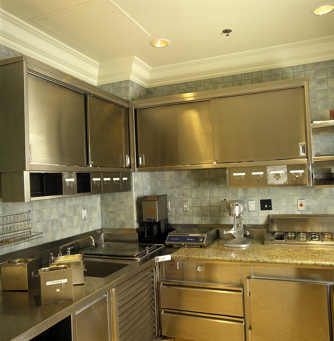 Restaurant Kitchen with Metal Cabinets