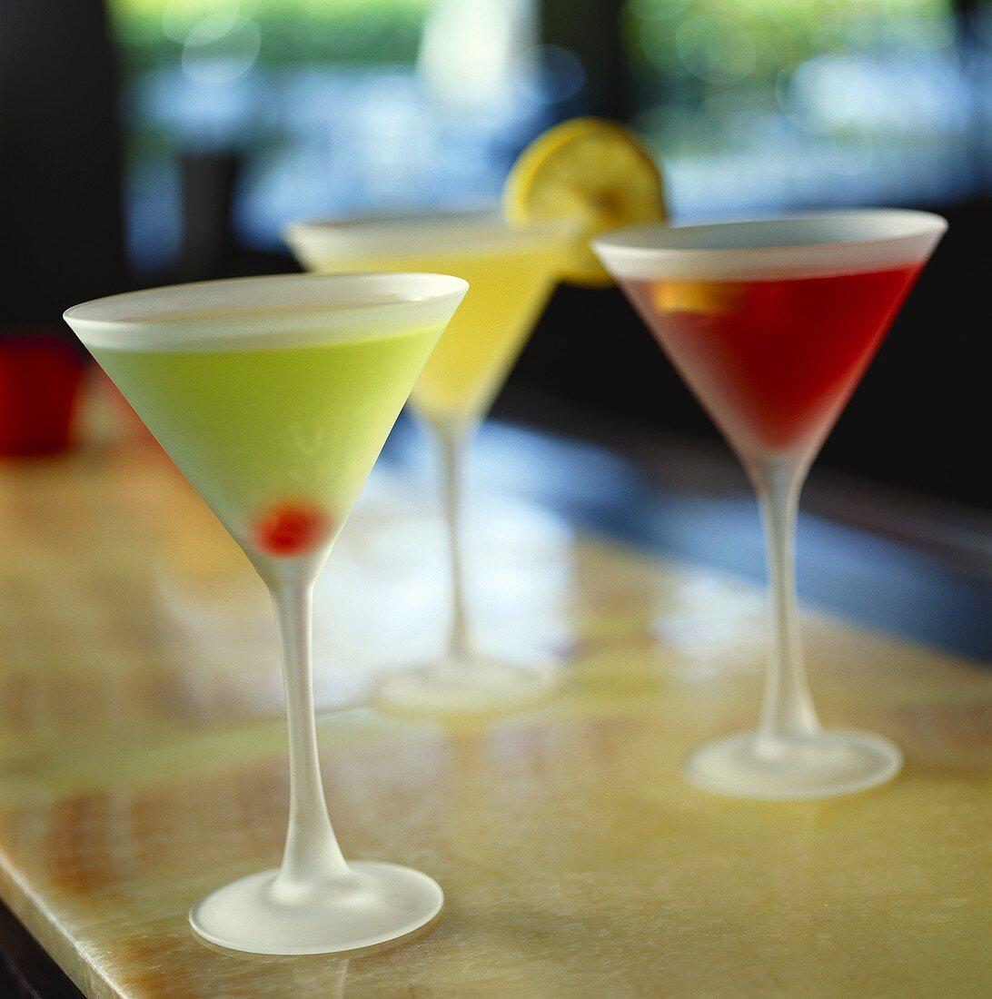 Green Apple Martini, Cosmopolitan and Citron Martini