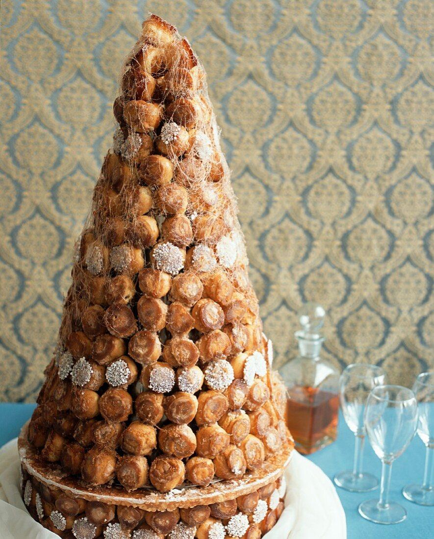 Croquembouche (Wedding cake made of profiteroles, France)