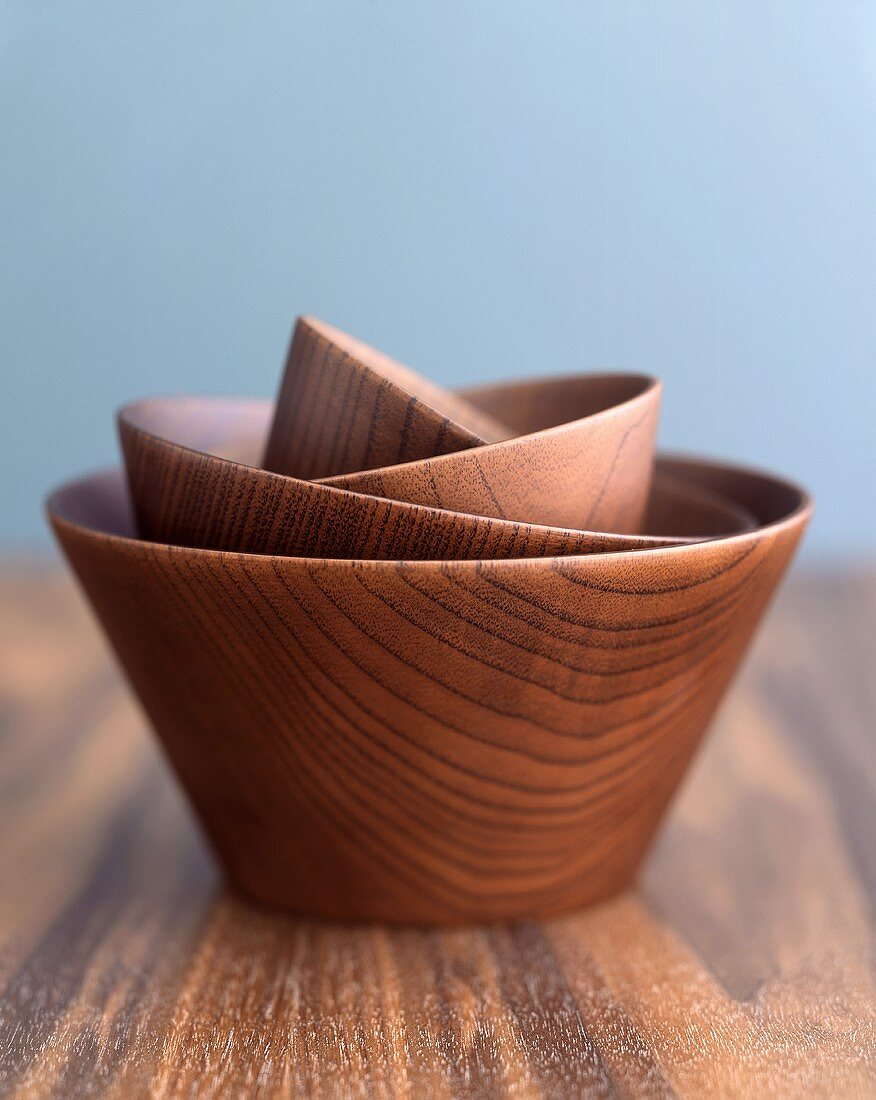 Wooden bowls of different sizes, nested