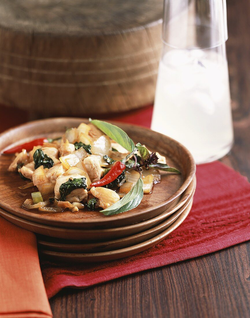 Chicken with Thai basil and chillies