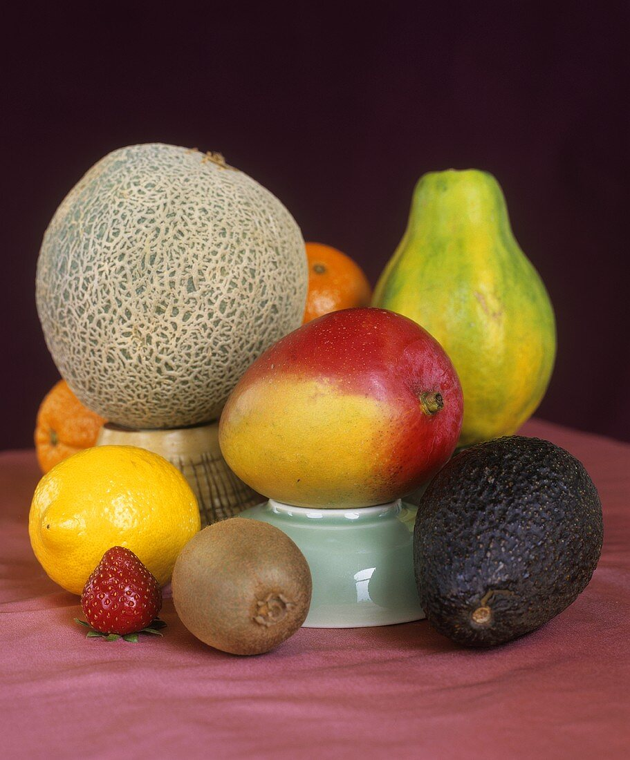 Still life with a selection of whole fruits