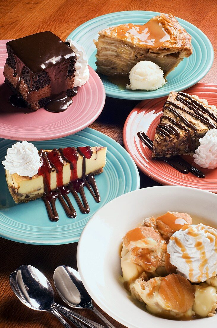 Five Different Desserts: Pies, Chocolate Mousse Cake, Cheesecake and Cobbler