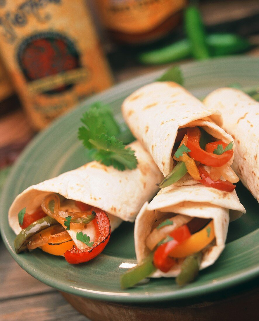Fajitas with Roasted Peppers and Cilantro