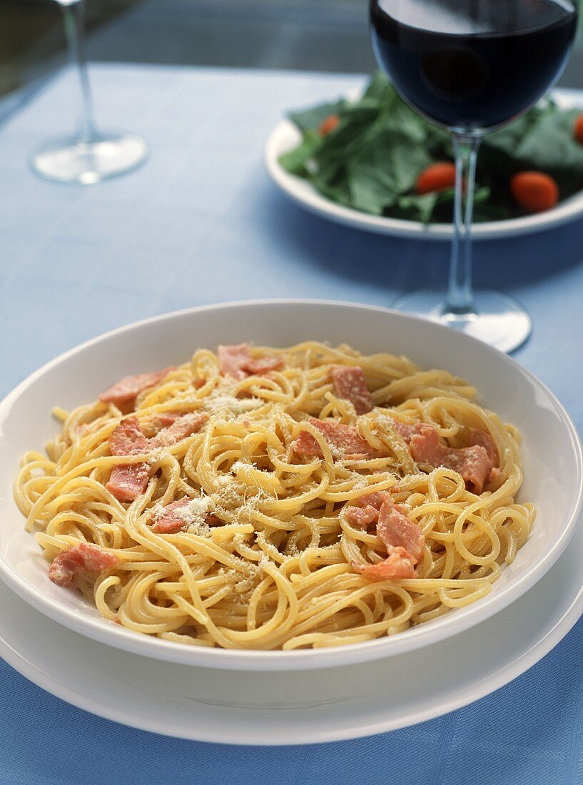 Spaghetti Carbonara with a Glass of Red Wine
