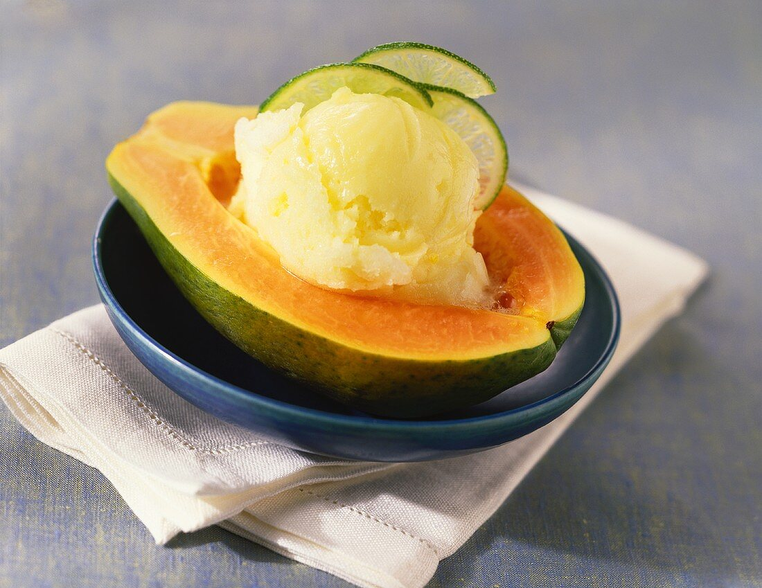 Papaya Half with Lemon Sherbet
