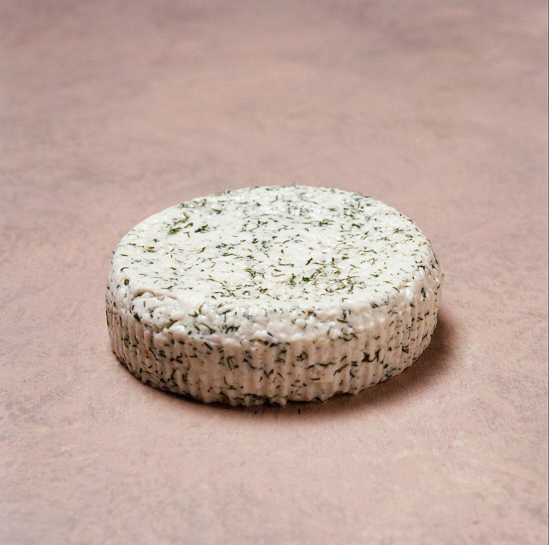 A Round of Garlic Herb Farmers Cheese