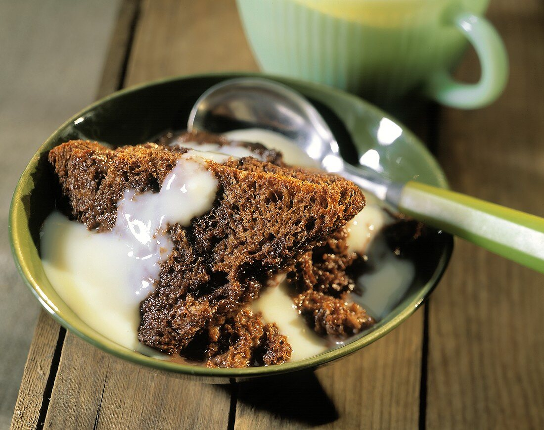 Chocolate Bread Pudding with Custard Sauce