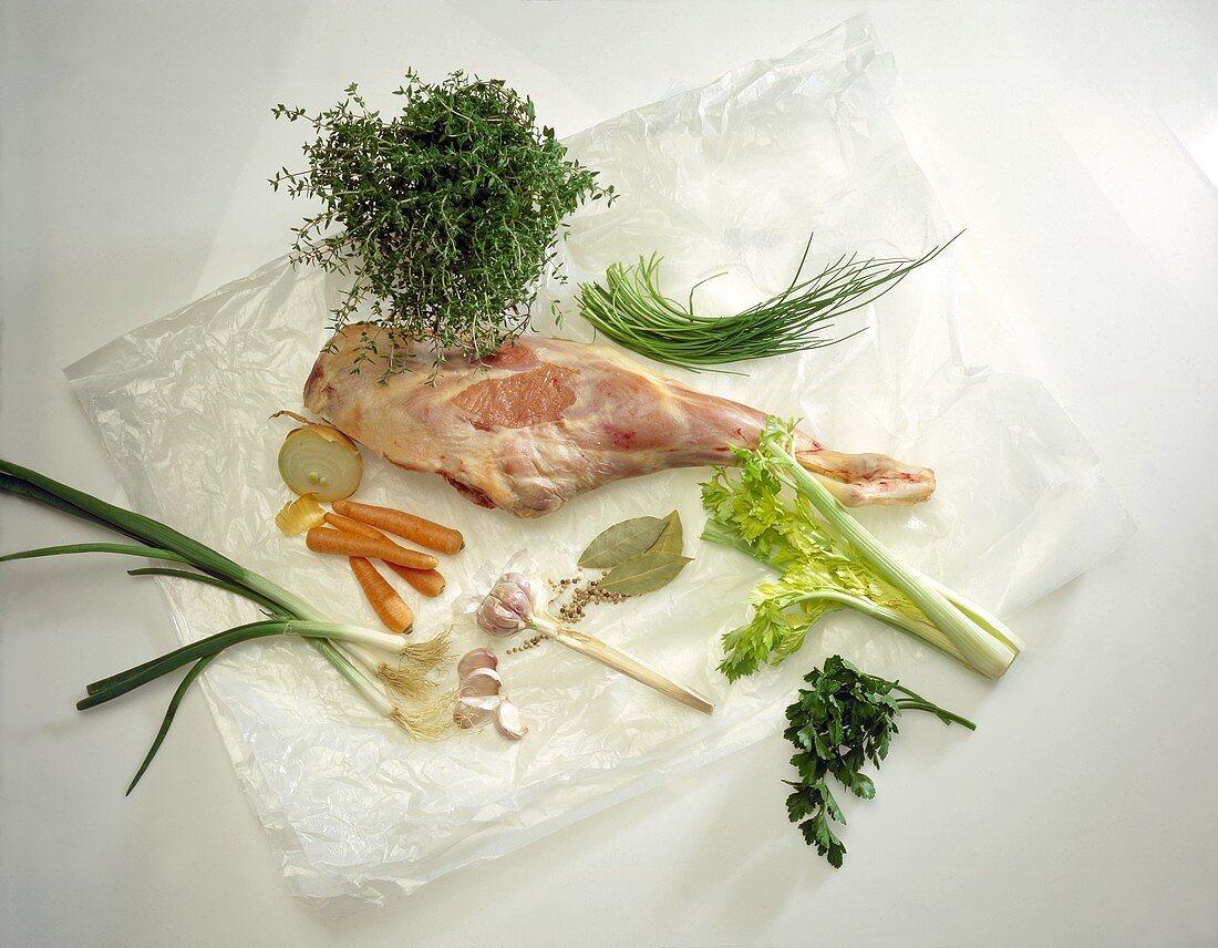 Leg of Lamb; Herbs & Vegetables
