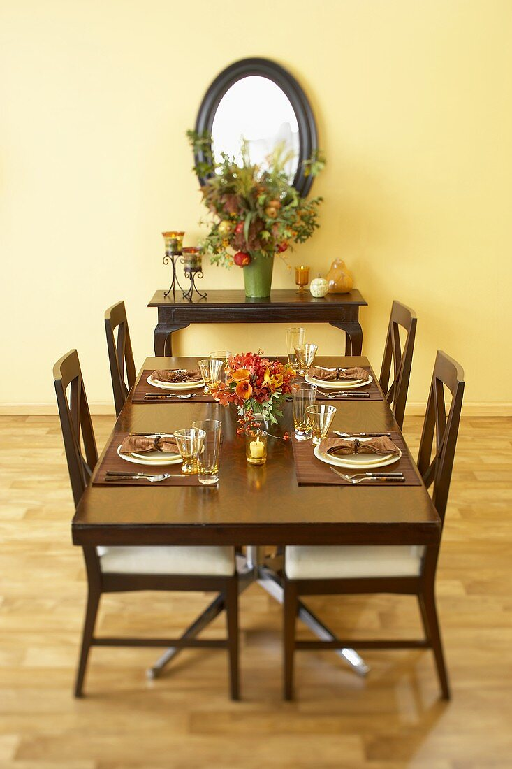 Table Set in Dining Room with Autumn Bouquets