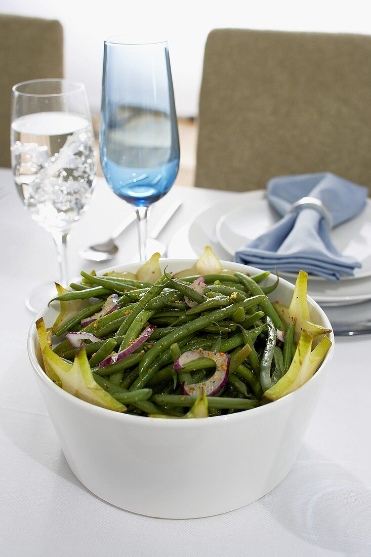 Green Bean and Onion Side Dish on Hanukkah Table