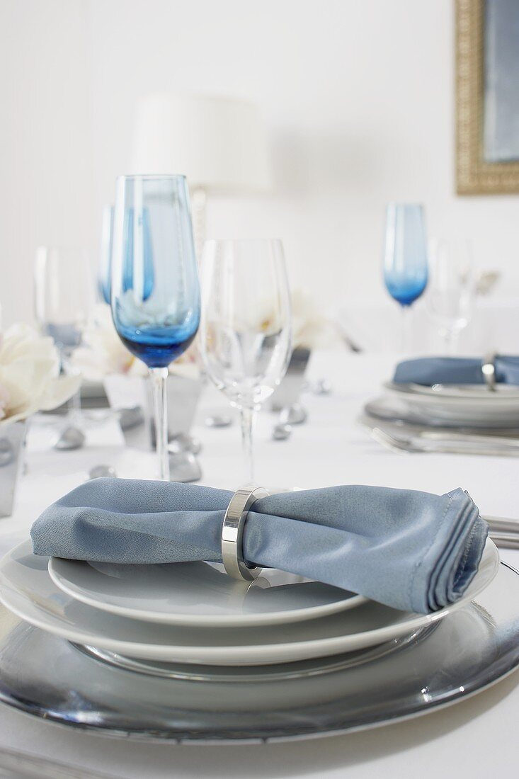 Place Setting on a Hanukkah Dining Table
