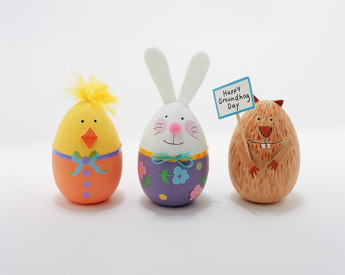 Three Easter Eggs: a Chick, a Bunny and a Groundhog