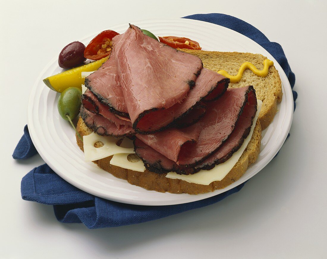 Open Faced Roast Beef Sandwich with Swiss and Mustard
