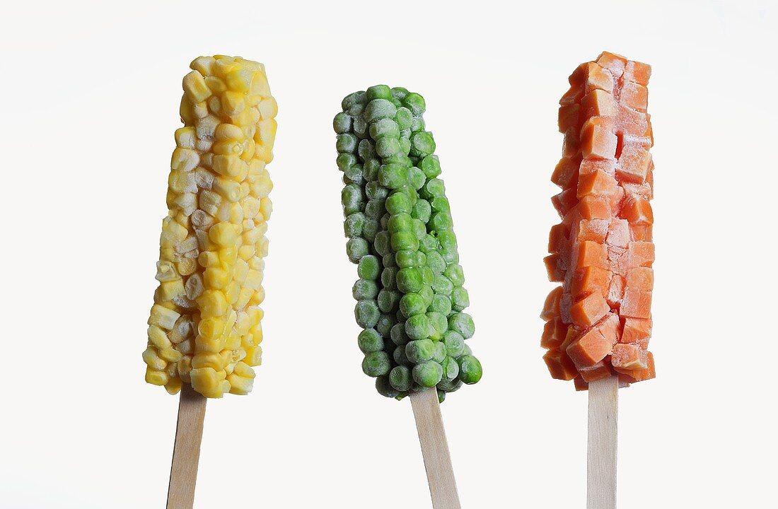 Three Frozen Veggie Pops, Corn, Peas and Carrots