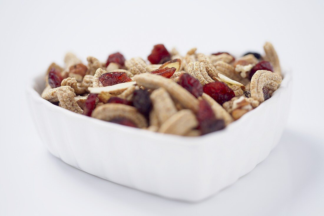Close Up of a Small Bowl of Fruit and Fiber Cereal