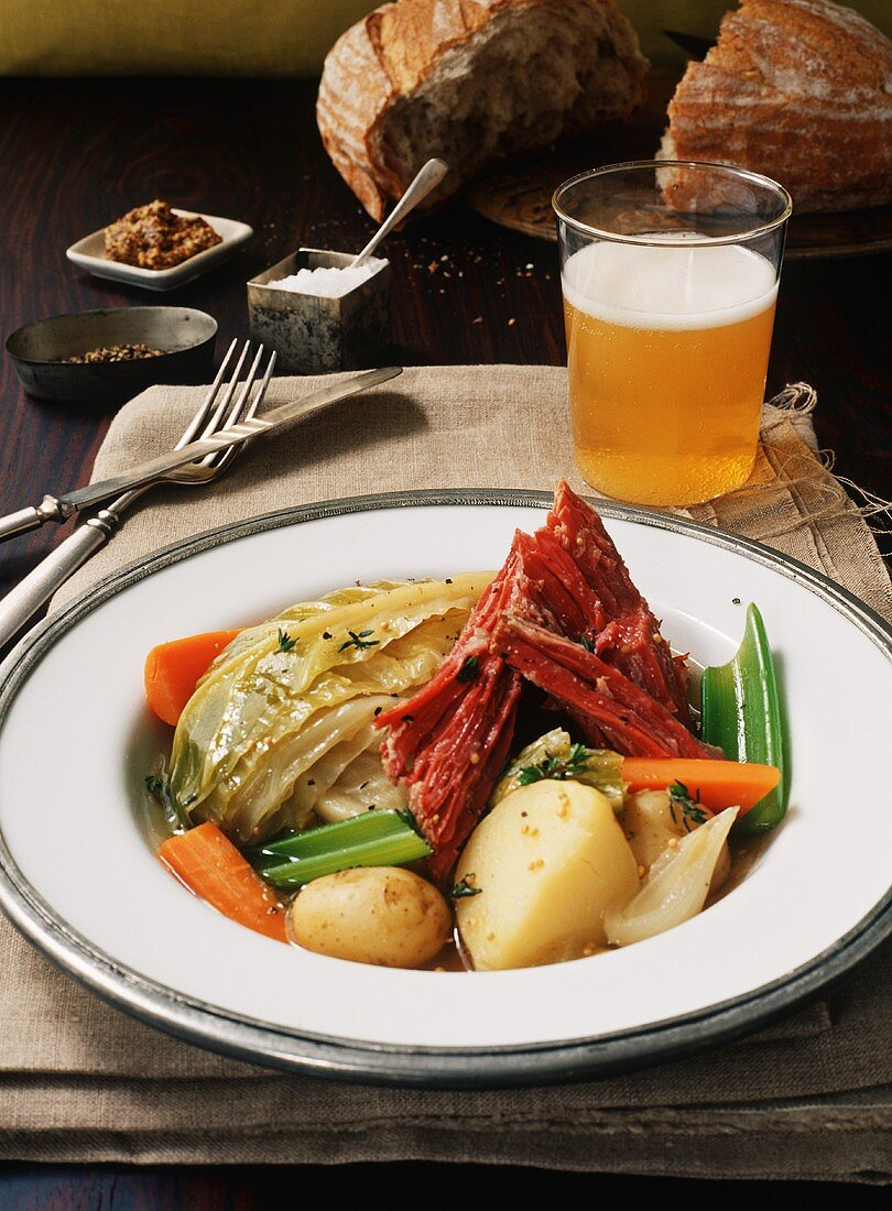 New England Boiled Dinner; Corned Beef and Cabbage