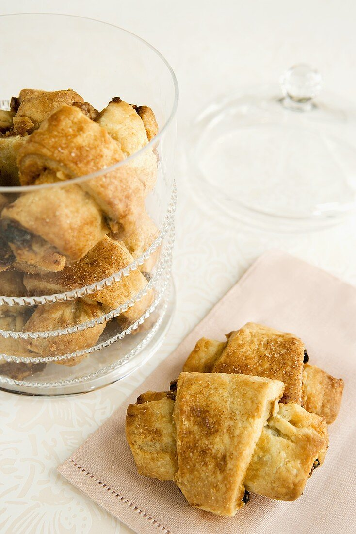 Two Pieces of Rugelach on a Napkin and In a Cookie Jar
