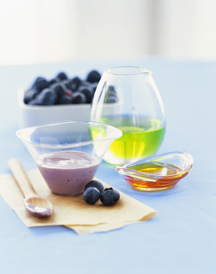 Ingredients for a Blueberry Mask