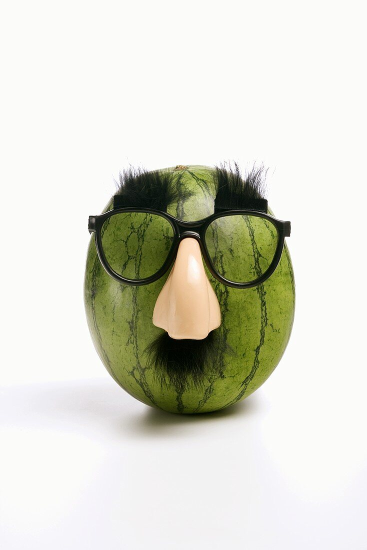 Whole Watermelon Wearing Glasses and Nose