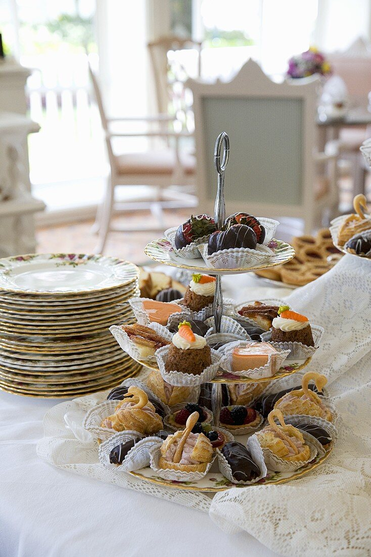 Assorted Sweets on a Triple Tier Serving Platter for High Tea